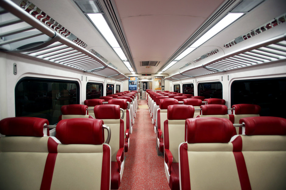 The interior of a Metro-North commuter car.
