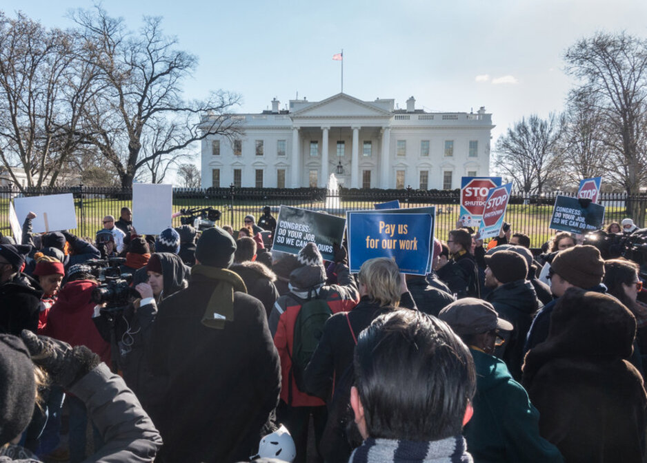 Protesters against the ongoing federal government shutdown gather outside of the White House in Washington, D.C., Jan.10, 2019.