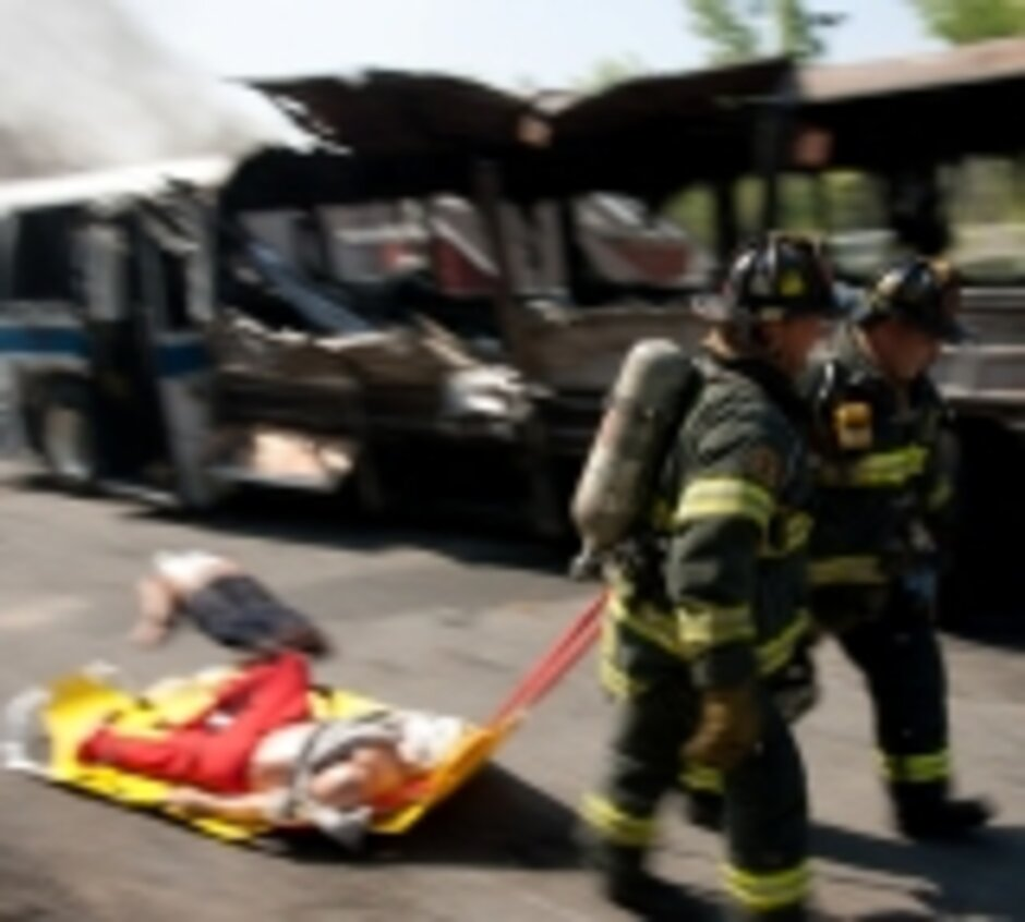 an fdny firefighter races to help victims during a simulated bus bombing official marine corps photo by sgt randall a clinton