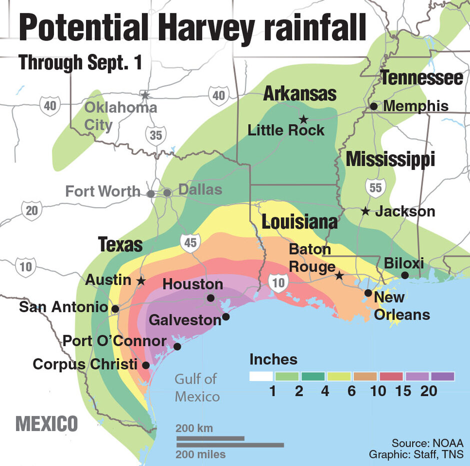Houston For Example Which Is The 4th Largest City And The 5th Most Populous Metro Area In The U S May Receive Up To 35 Of Rain As Harvey Moves Up The